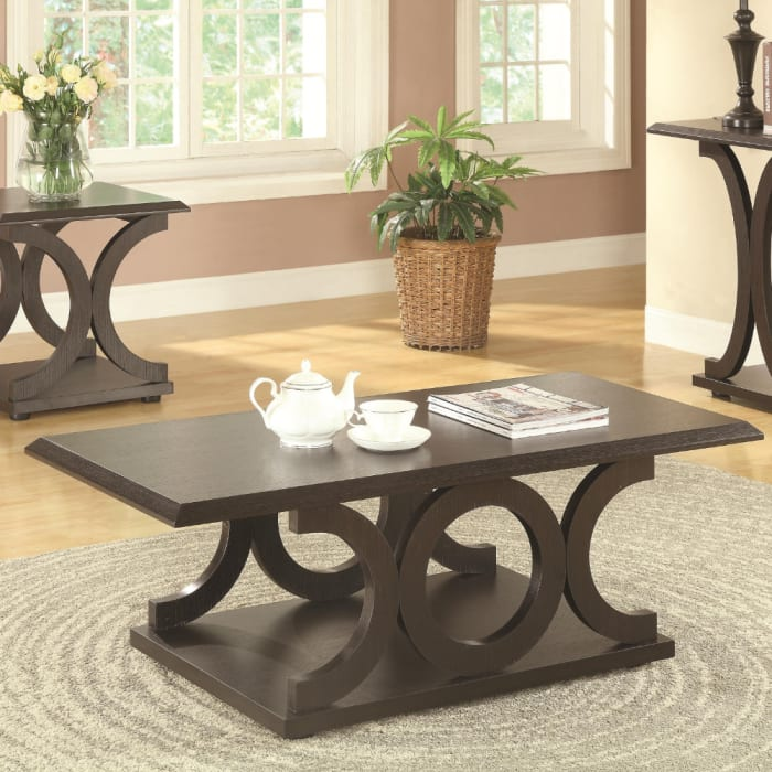 Contemporary Style C Shaped Coffee Table With Open Shelf, Espresso Brown