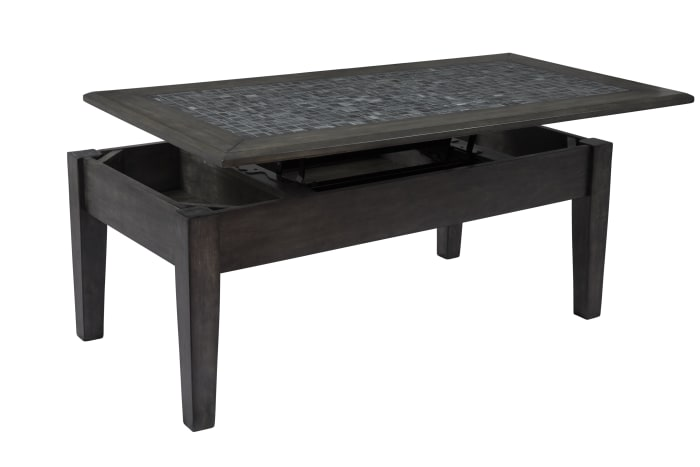Stone Marble Cocktail Table With Lift Top, Dark Gray