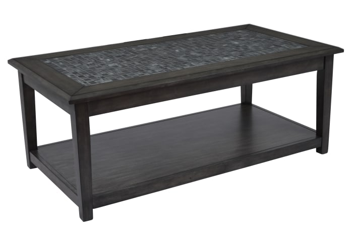 Cocktail Table With Marble Tile Inlay And Lower Shelf, Dark Gray