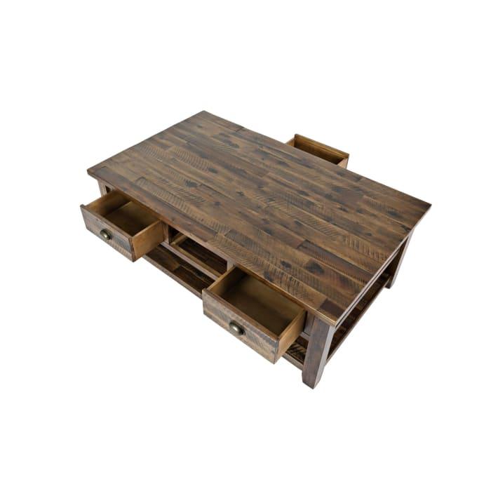 3 Drawer Cocktail Table With Open Shelf Beneath, Dakota Oak