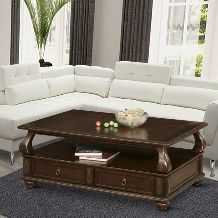 2 Drawer Wooden Coffee Table with Bun Feet and Ring Pulls, Brown