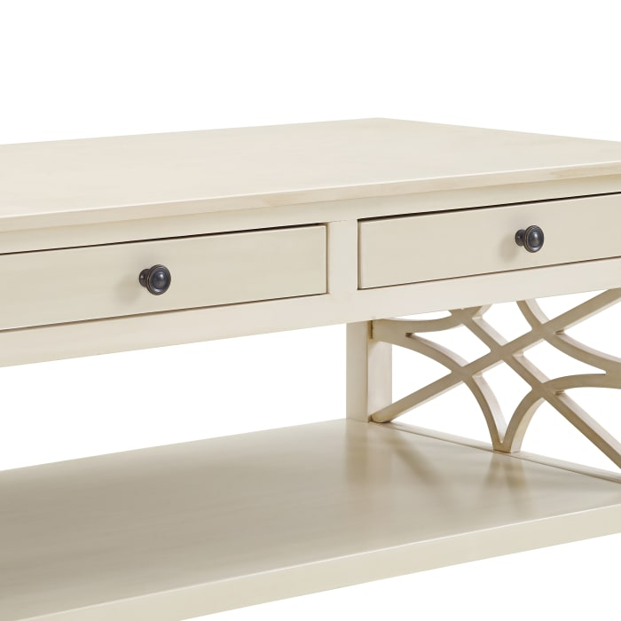 2 Drawer Wooden Coffee Table with Geometric Sides, Antique White
