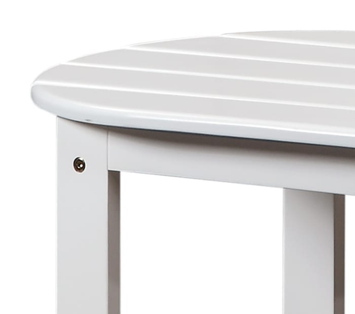 Outdoor Wooden Coffee Table with Slatted Oblong Shape Top, White