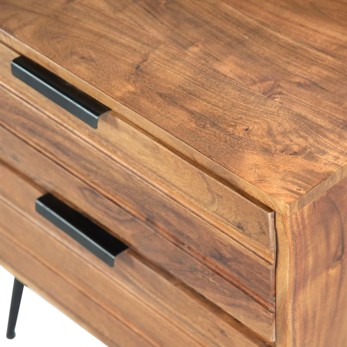Metal Angled Legs 2-Drawer Wooden Black and Brown Nightstand