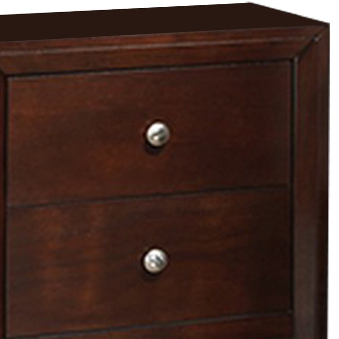 Metal Pulls 2-Drawer Wooden Brown Nightstand
