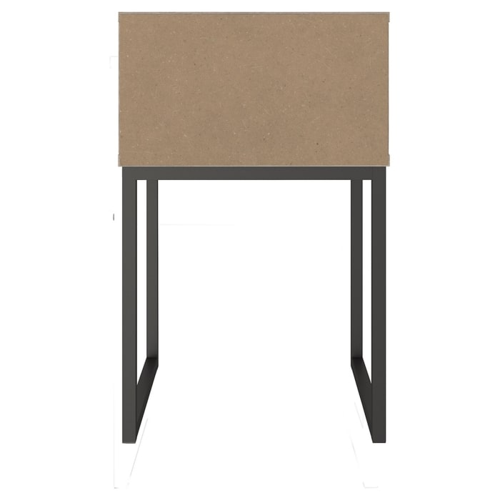 Grain Details 1-Drawer Wooden Washed Brown and Black Nightstand