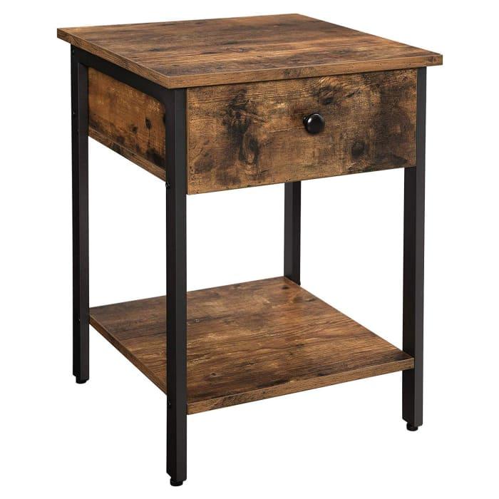 Wood and Metal Frame 1-Drawer and Shelf Brown and Black Nightstand