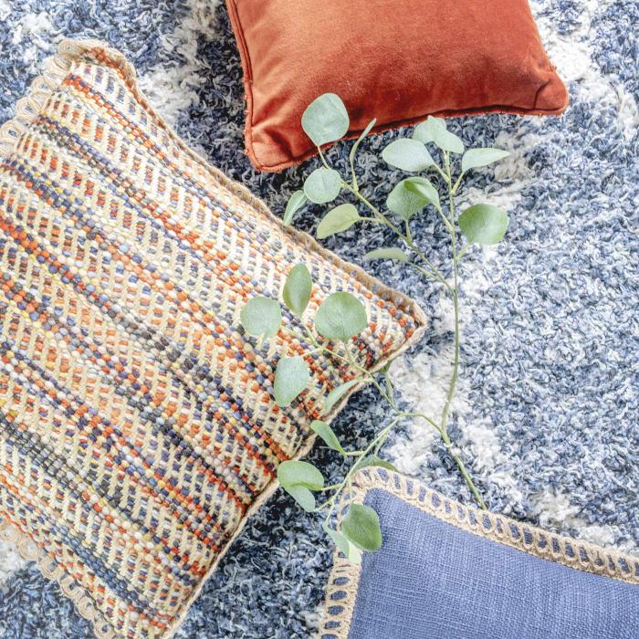 Pier 1 Blue Rust Woven Jute Pillow