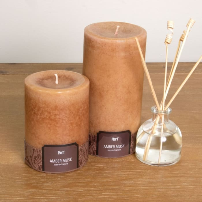 Pier 1 Amber Musk 3x6 Solid Pillar Candle