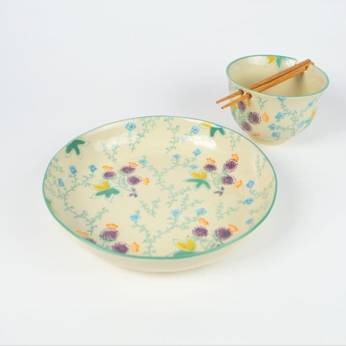 Ella Aqua Ramen Bowl and Dinner Bowl Set