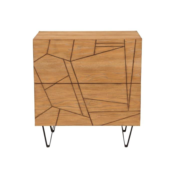 Trapezoid 2-Drawer Wood Nightstand