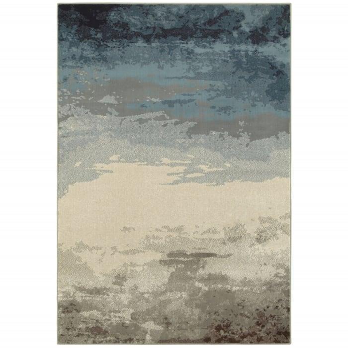 Blue Beige Machine Woven Abstract Skies Indoor Area Rug