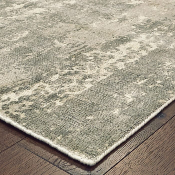 Gray and Ivory Abstract Splash Runner Rug