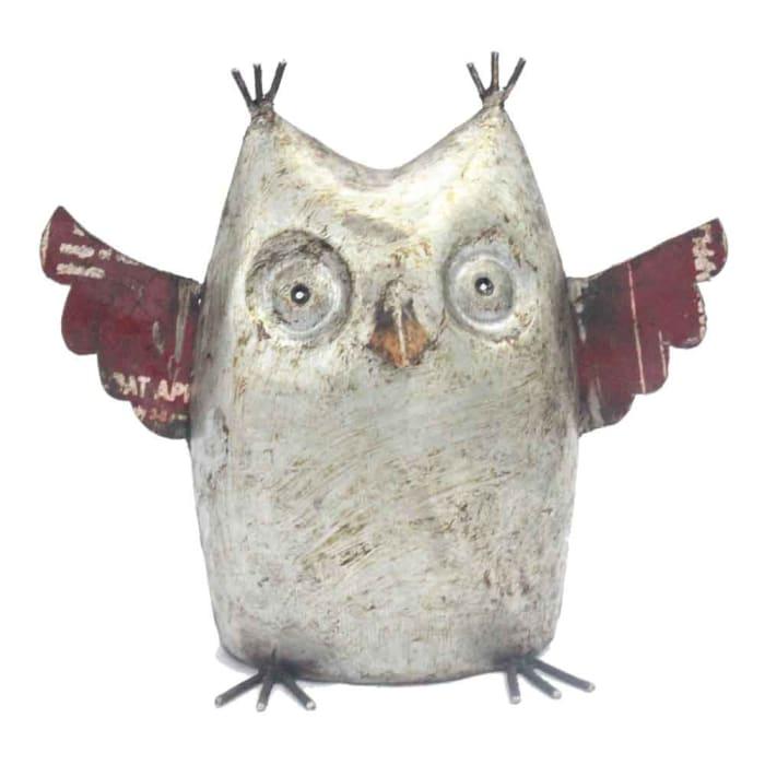 Reclaimed Iron Owl Sculpture
