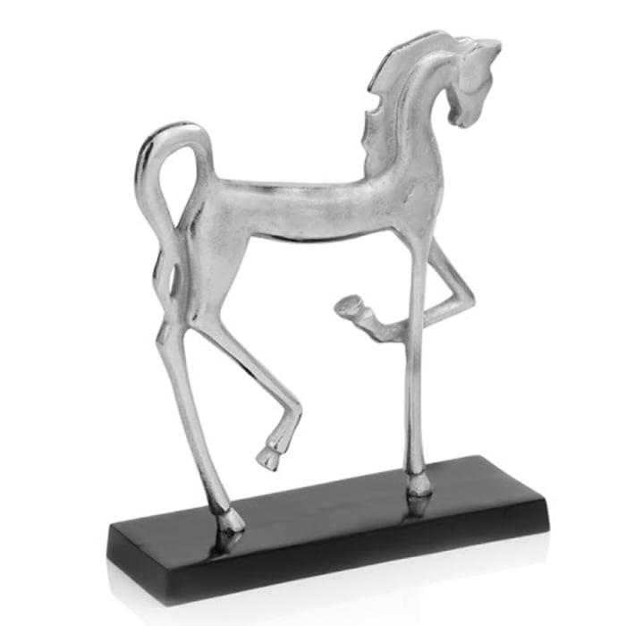 Rough Silver Black Cantering Horse Sculpture