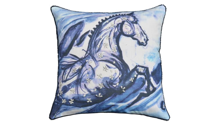Horse Blue Decorative Pillow