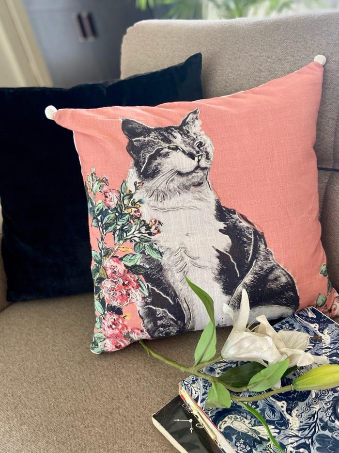 Pink Cat Decorative Pillow