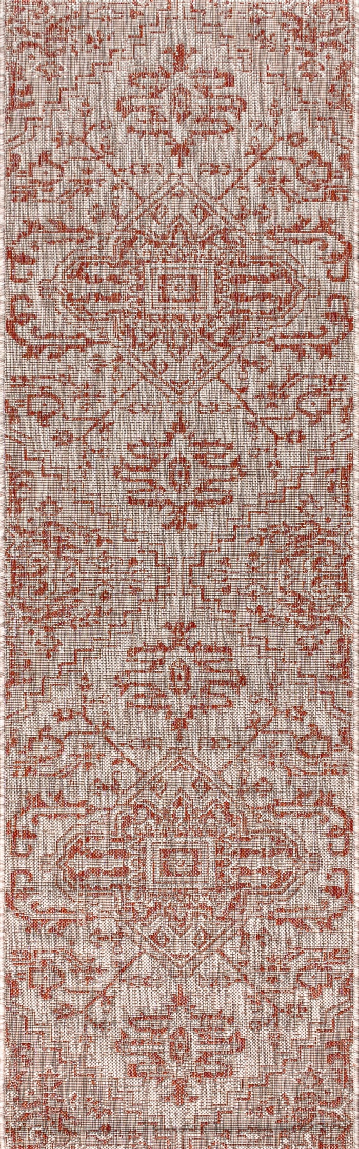 Estrella Bohemian Medallion Textu Weave Red and Taupe Outdoor Runner Rug