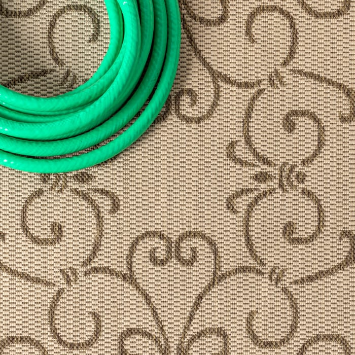 Charleston Vintage Filigree Textu Weave Beige and Brown Outdoor Runner Rug