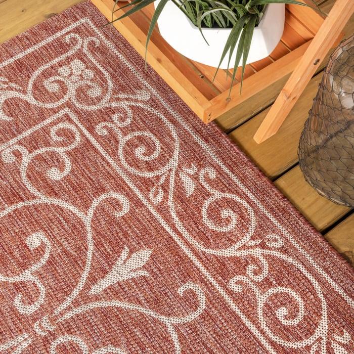 Charleston Vintage Filigree Textu Red and Beige Weave Outdoor Runner Rug
