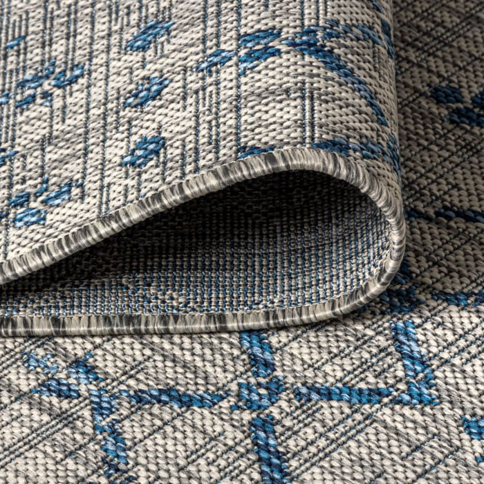 Ourika Moroccan Geometric Textu Weave Gray and Blue Outdoor Runner Rug