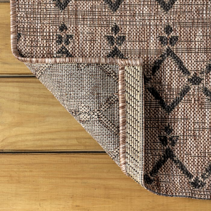 Ourika Moroccan Geometric Textu Weave Natural and Black Outdoor Runner Rug