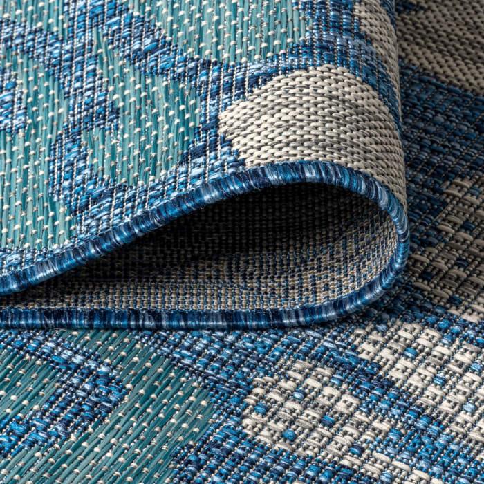 Zinnia Modern Floral Textu Weave Blue and Aqua Outdoor Runner Rug