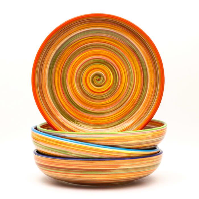 Raia Set of 4 Orange Assorted Pasta Bowls