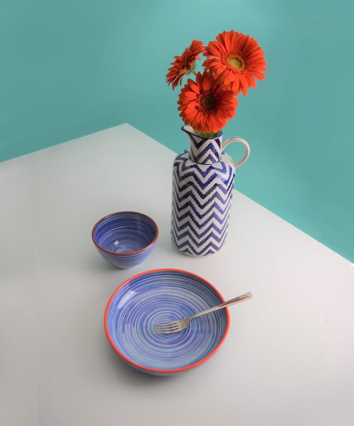 Raia Set of 4 Blue Assorted Pasta Bowls