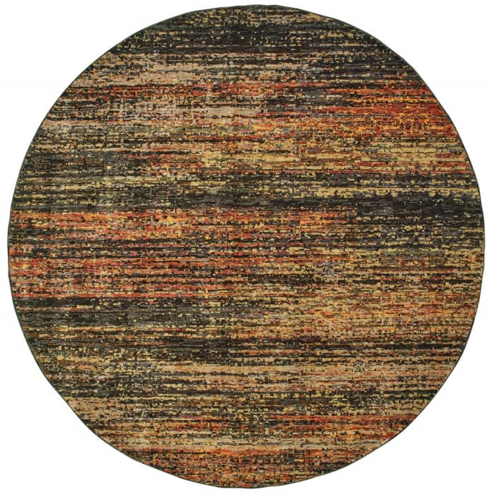 Round Gold and Slate Abstract Area Rug