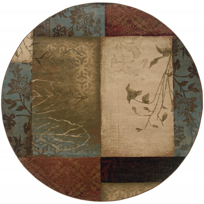 Round Beige and Brown Floral Block Pattern Area Rug