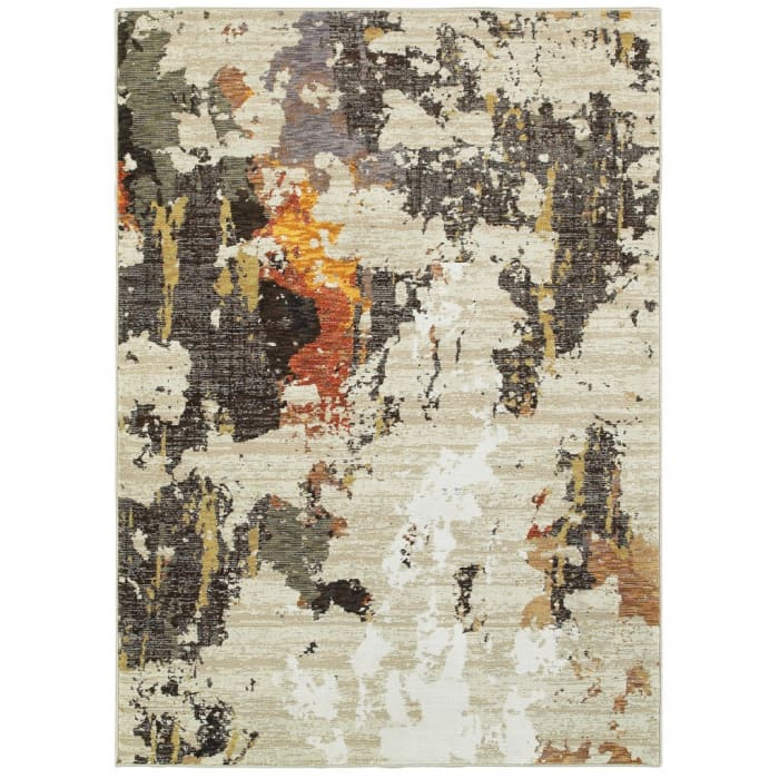 Abstract Weathered Beige and Gray Scatter Rug