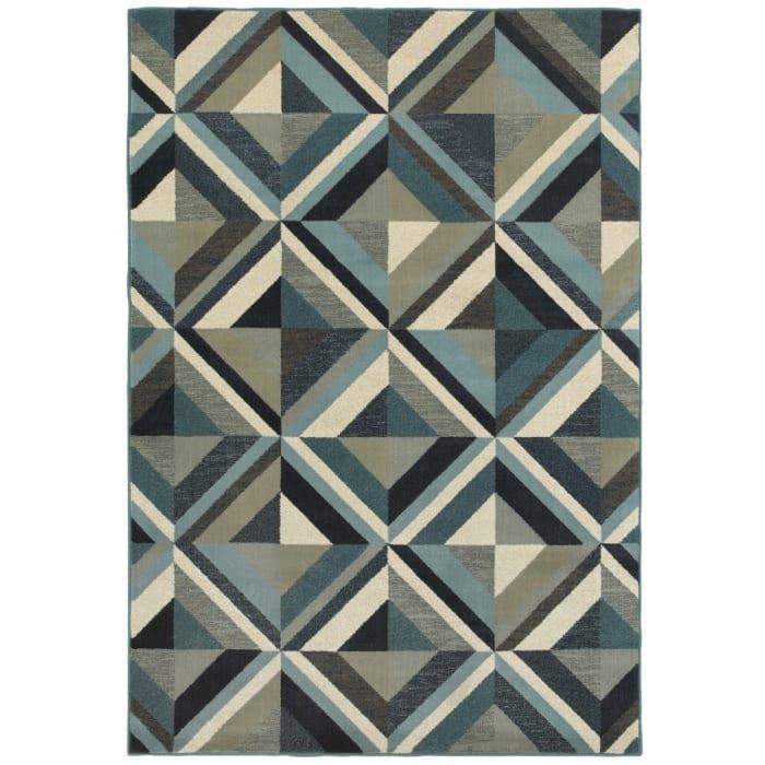 Blue Grey Machine Woven Geometric Indoor Area Rug