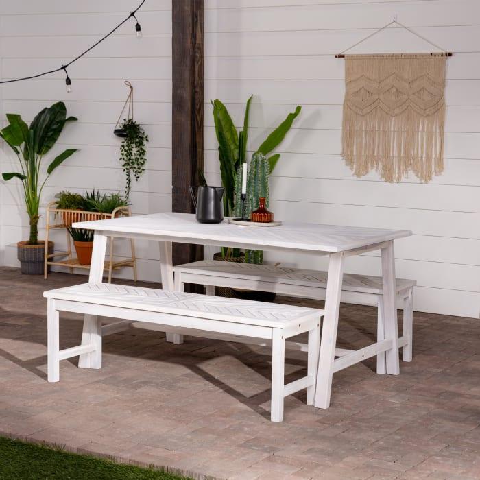 Modern Boho White Wash Acacia 3 Piece Outdoor Dining Set