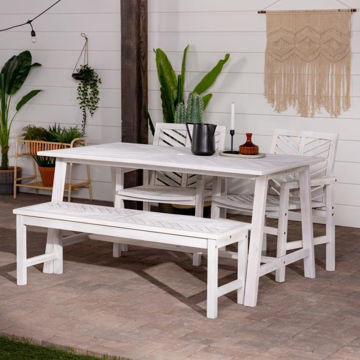Modern Boho White Wash Acacia 4 Piece Outdoor Dining Set
