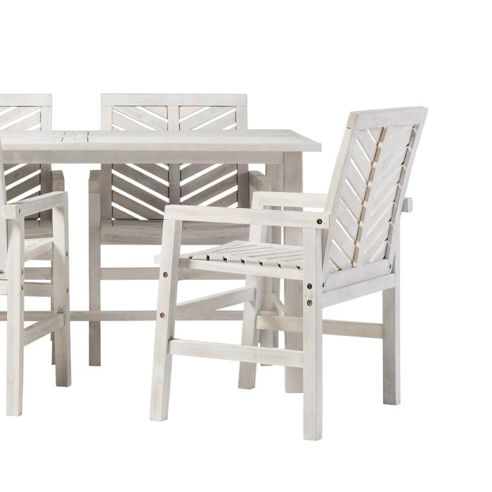 Modern Boho White Wash Acacia 5 Piece Outdoor Dining Set