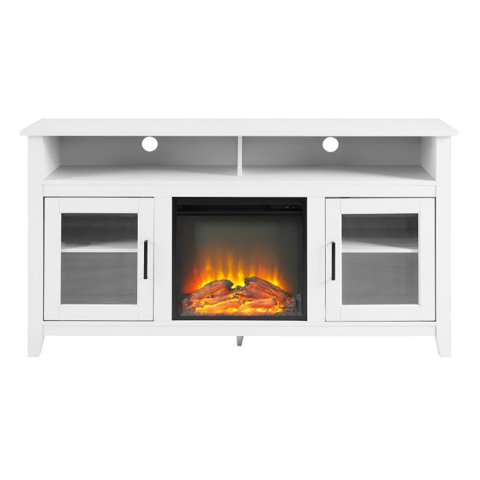 Transitional Farmhouse Brushed White Highboy with Electric Fireplace 58