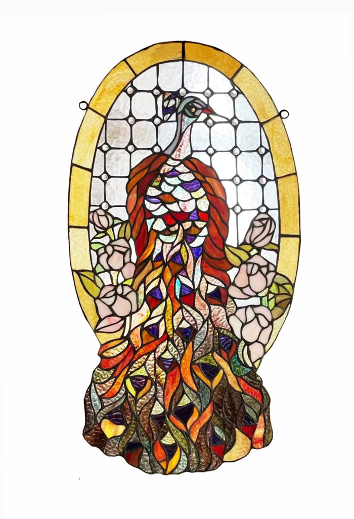 Peacock and Flowers Stained Glass Window Panel