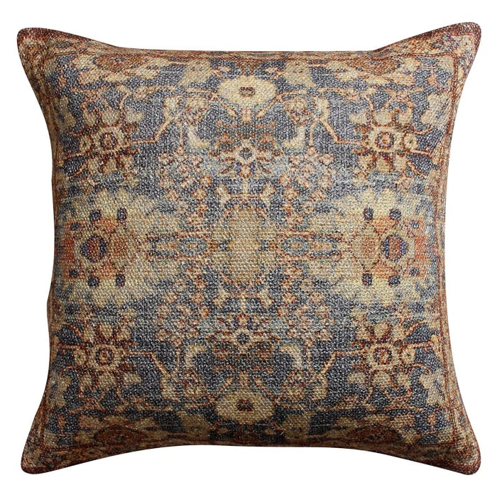 Cotton Handwoven Floral Pattern Brown Cushion Cover