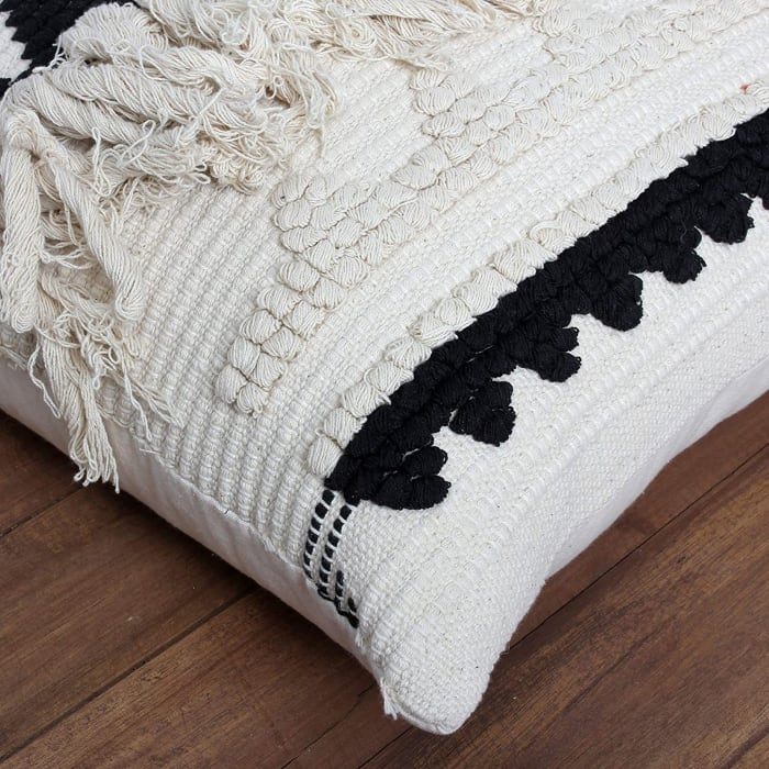 Fringed Cotton White and Black Accent Pillow Cover