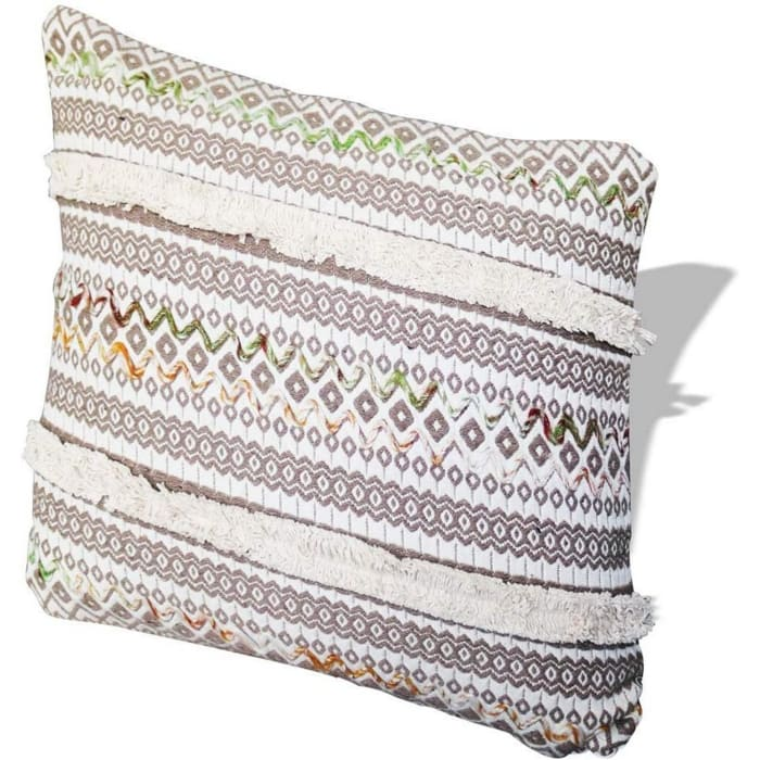 Kilim Printed White and Gray Accent Pillow Cover