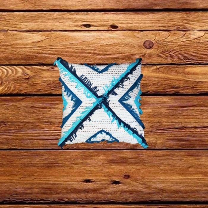 Embroidered White and Blue Accent Pillow Cover