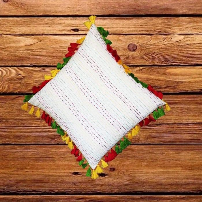 Fringe Embellished Multicolor Accent Pillow Cover