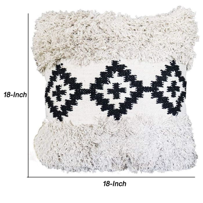 Geometric Print and Fringed Black and White Accent Pillow Cover
