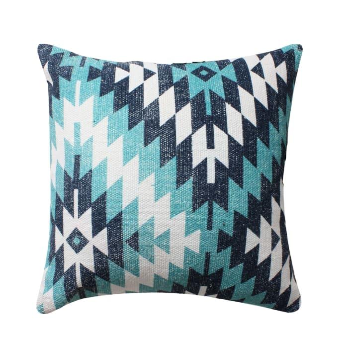 Handwoven Geometric Print Cotton  Multicolor Accent Pillow