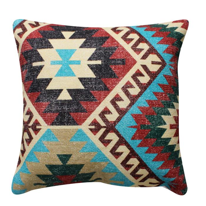 Handwoven Tribal Print Textured Cotton Multicolor Accent Pillow