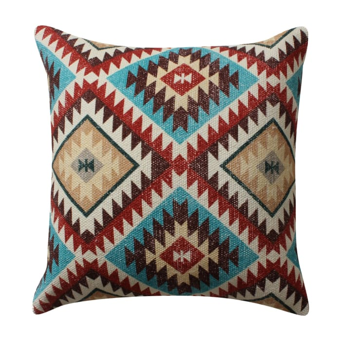 Kilim Printed Cotton Red and Blue Accent Pillow