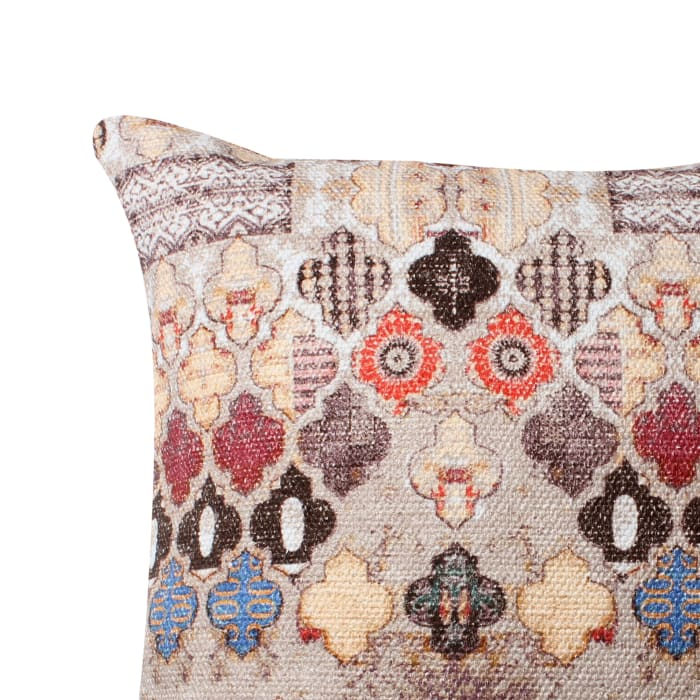 Handwoven Quatrefoil Print Cotton Multicolor Accent Pillow