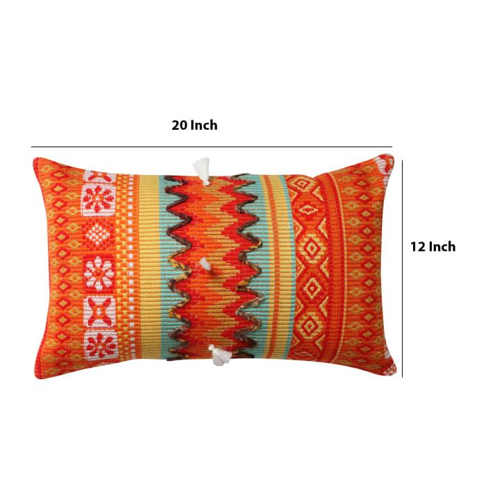 Handwoven Jacquard Print  Cotton Orange Accent Pillow