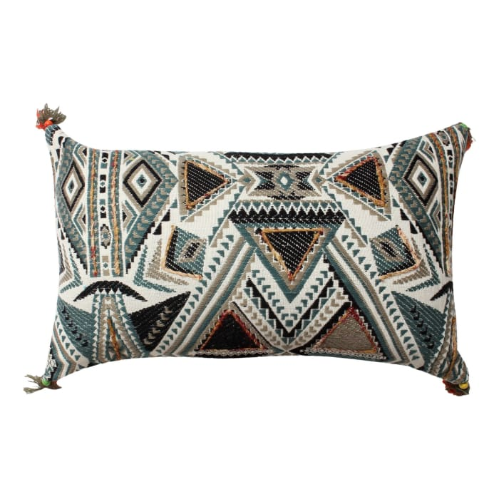 Handwoven Abstract Print Cotton White and Blue Accent Pillow